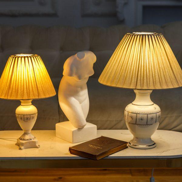 Настольные светильники с ручной росписью платиной